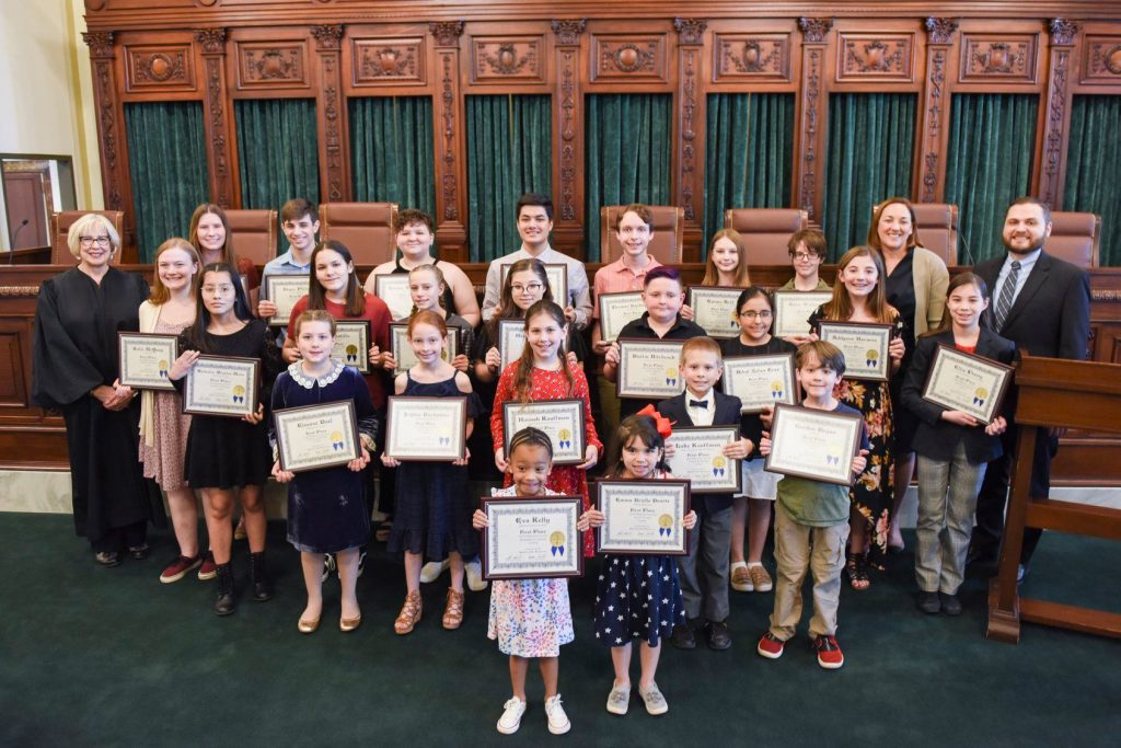 Winners of the 2020 Law Day contest photographed at the Oklahoma State Capitol.