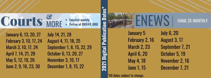 2021 Pubication Dates.